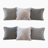 A set of pillows: beige velvet, chevron and goose paw (Pillows beige velvet chevron and houndstooth)