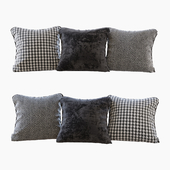 A set of pillows: black velvet, chevron and goose paw (Pillows black velvet chevron and houndstooth)