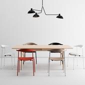 Carl Hansen dining set + Waldorf Triple light