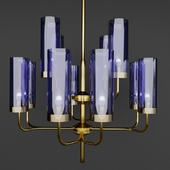 Chandelier Hans-Agne Jakobsson Brass & Blue Glass Tube Chandelier