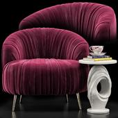 Opal Accent Chair, Papier Mache Wave Side Table