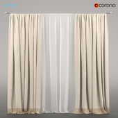 Curtains bicolour + tulle.