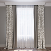 Set of beige and brown curtains in the style of Provence (Curtains Beige provence)