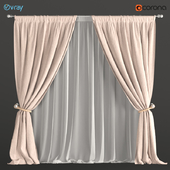 Curtains beige with a garter on the rope + tulle.