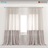 Beige velvet curtains with tulle.
