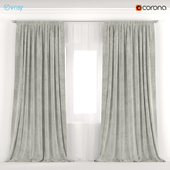 Velvet curtains are milky white with tulle.