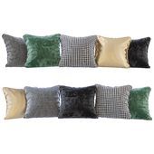 A set of pillows: black, green velvet, chevron, goose paw and gold (Pillows black green velvet chevron houndstooth and gold)