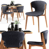 Ethimo Knit dining chair and square table