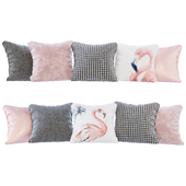 A set of pillows with flamingo 02 prints (Pillows flamingo 02 YOU)