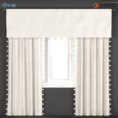 Beige curtains with pom-poms from Restoration hardware - RH Baby & Child.