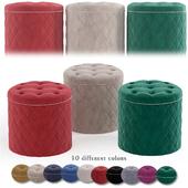 Lemele Round Velvet Ottoman