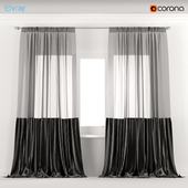 Black velvet curtains with tulle.
