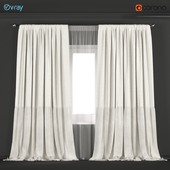 Double neutral colors curtains made of fabric with velvet + tulle.