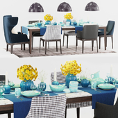 Molteni Dining Table and Chairs with Decor