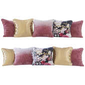 Set of cushions cherry gradient and flowers (Pillows cherry gradient and flowers YOU)