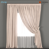 Beige curtains with a garter on the rope + tulle.