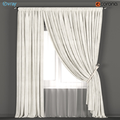 Neutral color curtains made of velvet with a garter on the rope + tulle.