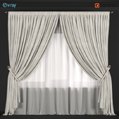 Velvet curtains of neutral color with a garter on the rope and tulle.
