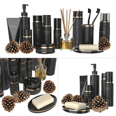 A set of black cosmetics.
