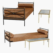 Rare Bronze Table by Maison Bears and Wrought Iron and Leather Daybed Attributed to Andre Arbus