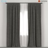Dark curtains + tulle.