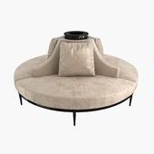 Custom Hand Made Center Round Settee Banquette Sofa