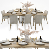 Slab table on metal base and chairs Crate and Barrel