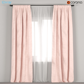 Pink linen curtains + tulle.