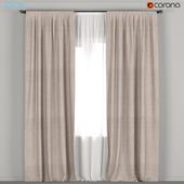 Dark beige curtains with tulle.