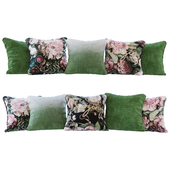Set of cushions green gradient and flowers (Pillows green gradient and flowers YOU)
