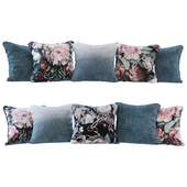 Set of blue gradient and flowers cushions (Pillows blue gradient and flowers YOU)