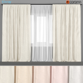 A set of wide light curtains in six colors of linen with tulle.