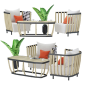 Swing dining armchair and large coffee table set