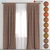 Brown curtains in 10 colors + tulle.