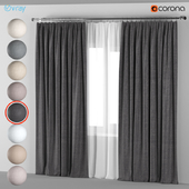 Curtains in 8 neutral colors with tulle.