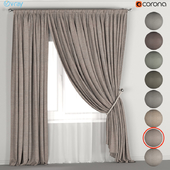 Curtains with a garter on a rope in eight dark colors + tulle.