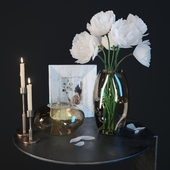 Coffee table with decor and flowers