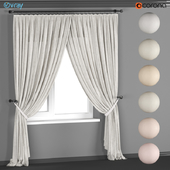 A set of light curtains made of linen with pick up in six colors.