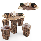 Table with Chair of rustic wood