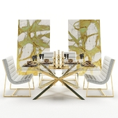 Dining table glass with armchairs and decor