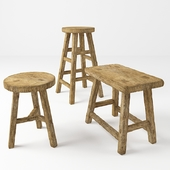 Rustic chairs. Rustic stools