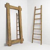 Зеркало и стремянка в стиле кантри. Mirror and ladder in rustic style