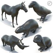 5 sculptures of animals black marble