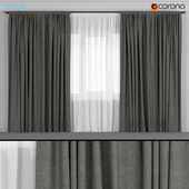 Wide dark gray curtains with tulle.