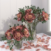 Red Pink Peony Flower Vase