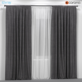 Dark gray curtains with white tulle.