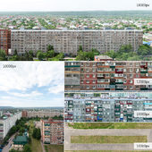 Panorama, backs, facades, grass, asphalt from Maikop
