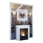 Karla's fireplace, Feiss Gianna FE GIANNA3W sconce, picture and mirror panel