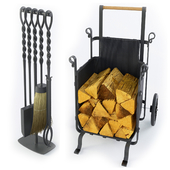 Mobile woodpile and fireplace accessories FIREWOOD COMPANION Frontgate