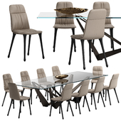 Cattelan italia Diana chair Skorpio table set